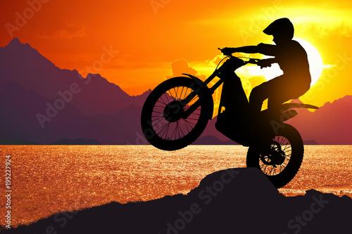 Plexiglas Oranje eclat motocycle at beach on twilight time