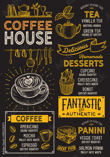 Fototapeta Coffee restaurant menu. Vector drink flyer for bar and cafe. Design template with vintage hand-drawn food illustrations.