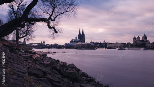 Keuken foto achterwand Lichtroze Cologne cathedral and the rhine