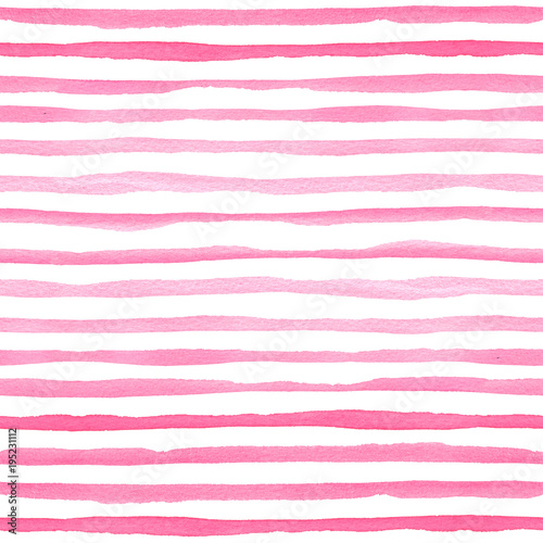 Cotton fabric Watercolor seamless pattern with pink horizontal stripes.