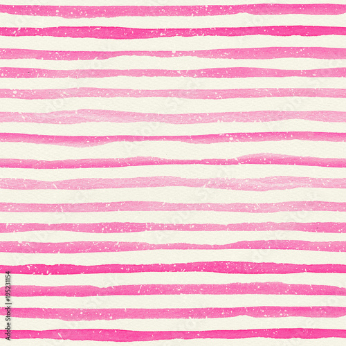 Cotton fabric Watercolor seamless pattern with pink horizontal stripes on a watercolor paper texture.