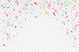 Fototapety Festive design. Border of colorful bright confetti isolated on transparent background. Party decoration frame for birthday, anniversary, celebration. Vector illustration, eps 10.