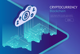 Cryptocurrency and blockchain isometric concept. Isometric vector illustration. Business financial concept. Showing the cryptocurrency or digital money