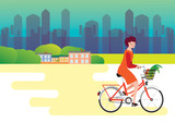 City style woman riding on a bicycle with goods in a baske, vector illustration