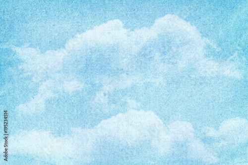 Fototapeta Blue painted watercolor clouds and sky.