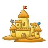 Big sand castle icon, cartoon style - 195236146