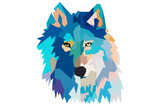 head of a wolf.  low poly. black background - 195241154