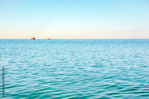 Aluminium Pool Landscape with turquoise sea and cloudless sky