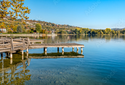 Aluminium Pool View of Varese Lake from Gavirate village in the province of Varese, Italy