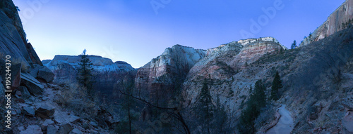 Panorama of Zion National Park at Dawn - 195244370