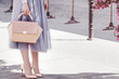 Fashionable woman posing in street. Girl holding elegant pink bag, purse, wearing stylish tulle skirt, shoes, wrist watch. Luxury wear and accessories. Female fashion concept.  Copy, empty space