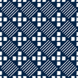Abstract indigo shibori seamless vector pattern with mosaic - 195245532