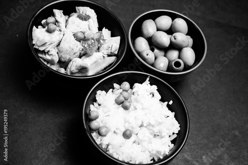 Chinese rice bowl on metal background