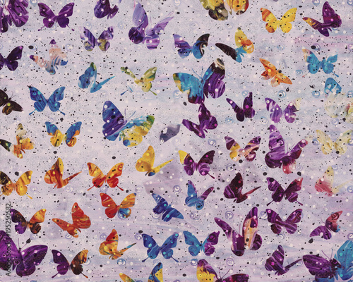 Fotobehang Vlinders in Grunge Fly Away