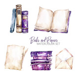 Watercolor borders set with old books, envelope and paper sheets. Original hand drawn illustration in violet shades. School design. ClipArt elements. Scrapbooking collection. - 195254785