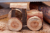 Making a homemade toy made of wood, a children's locomotive train. Creativity and craft.