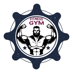 Fitness Gym Label With Strong Athletic Man Bodybuilder On White Background Vector Illustration