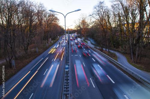 Aluminium Nacht snelweg Traffic Langzeitbelichtung