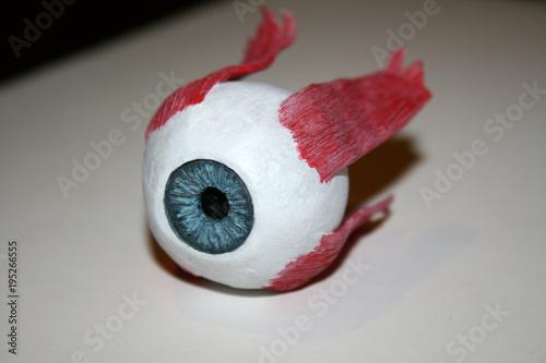 Closeup of isolated artificial eyeball