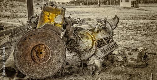 Aluminium Trekker old motor on the ground