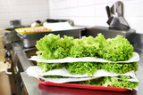 Stacked fresh frilly lettuce leaves - 195274951