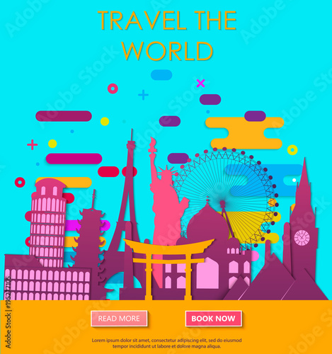 Fotobehang Turkoois Travel to World. Vacation. Trip to World. Tourism. Travel banner. Travelling illustration. Colorful modern flat design. EPS 10.