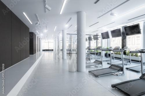 Aluminium Fitness Laufbänder im Fitness-Zenter, leer (Vision)