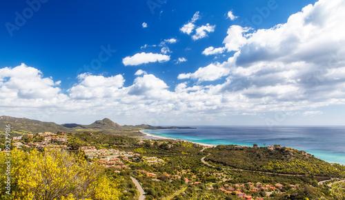 Staande foto Wanddecoratie met eigen foto Panorama di Costa Rei, Sardegna