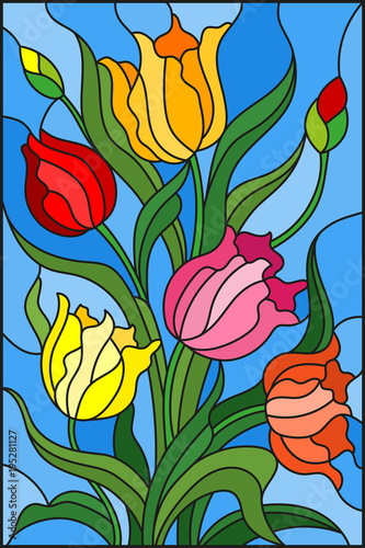 illustration-in-stained-glass-style-with-a-bouquet-of-colorful-tulips-on-a-blue-background