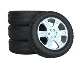 Stack Of Wheels 3d Illustration Wall Sticker