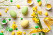 Easter Background with Easter Eggs and Spring Flowers - 195282992