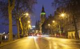 night scene in London city. Big Ben in background