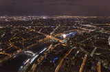 night scene of Paris cityscape from Eiffel Tower