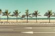 Quadro City Beach with palms behind the asphalt road. Ipanema Beach, Rio de Janeiro, Brazil