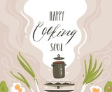 Hand drawn vector abstract cartoon cooking class illustrations poster with preparing food scene,soup pan,vegetables and Happy soul cooking handwritten modern calligraphy isolated on white background - 195292598