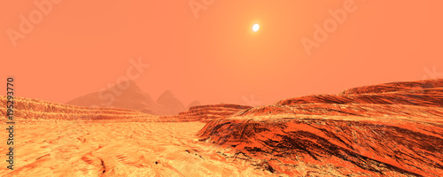 In de dag Oranje eclat 3D Rendering Planet Mars Lanscape