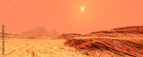 Plexiglas Oranje eclat 3D Rendering Planet Mars Lanscape
