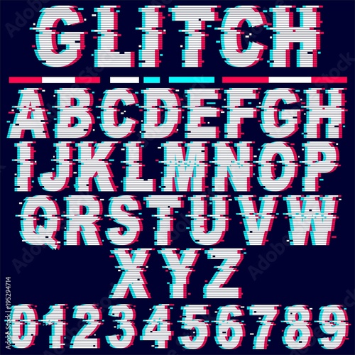 Poster Draw Glitch Effect Fonts Letters and Numbers Vector