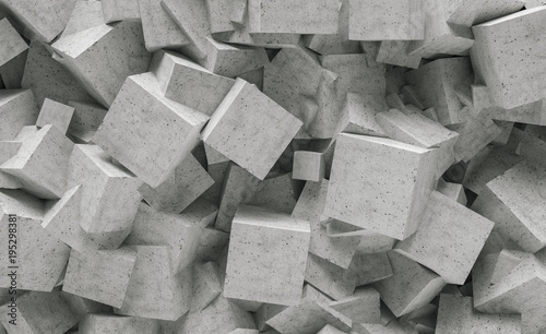 concrete cube wall background - 3D Rendering