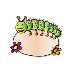 Caterpillar holding a banner