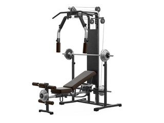 Multifunctional gym machine, angle view isolated on white background. 3D Rendering, Illustration. © vahekatrjyan