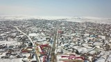 Aerial view of a small village in the danube delta, winter landscape - 195299951