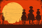 Silhouette of three Mexican cowboys riding horses on a wooden board - 195302199
