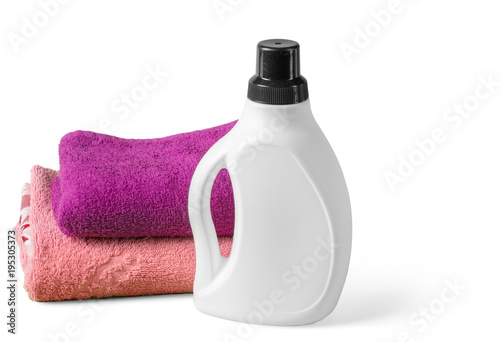 housekeeping set with towels and plastic bottles