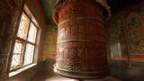 Big prayer wheel at Boudhanath in Kathmandu, Nepal - 195305758