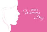 Poster Happy Women's Day Silhouette Face Woman And Space For Text  Wall Sticker