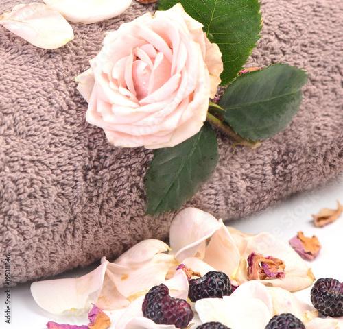 Fotobehang Spa Bath towel with rose