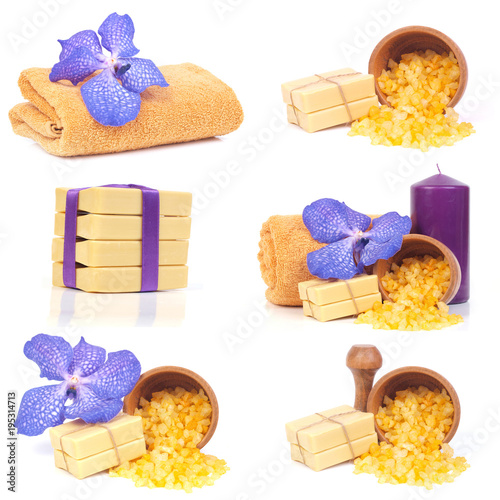 Yellow soap and salt and blue flower for SPA