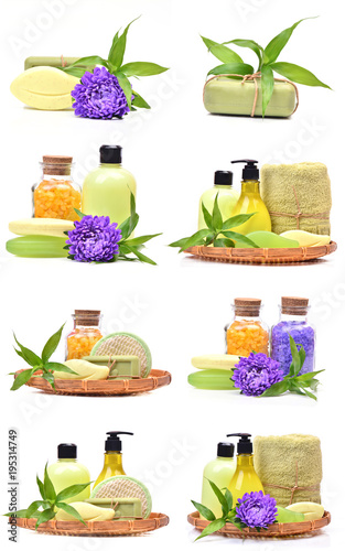 Fototapeta Salt; soap; scrub; gel; and cream with bamboo and flower