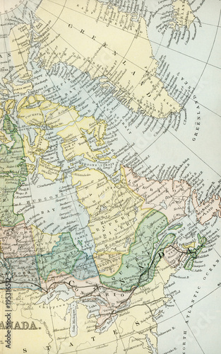 Fotobehang Canada Vintage Map of Canada - Early 1800 Antique Maps of the World
